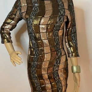 Sequin gold, gunmetal, silver swirl mini dress!